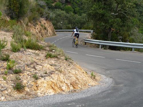 Chris on the road to Tossa de Mar