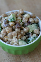 Chickpea, cucumber, olive, and goat cheese salad