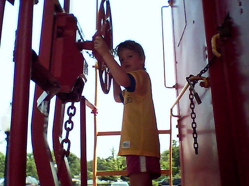 Jocelyn on a caboose