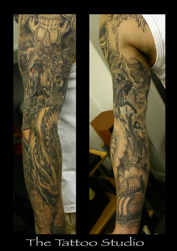 Gods, Godesses, Serphants, Valkyries and Vikings Sleeve Tattoo