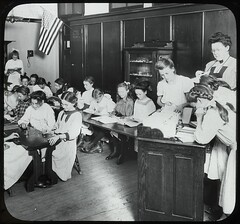 Girls in classroom, Traveling Library at Publi...