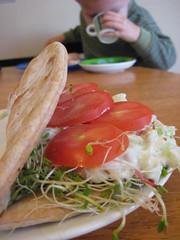 feta-cucumber pita sandwich