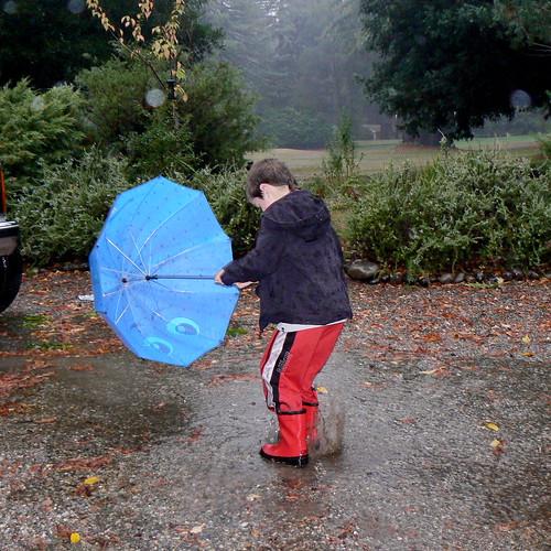 Gage enjoying the rain