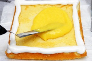 mango on practice cake