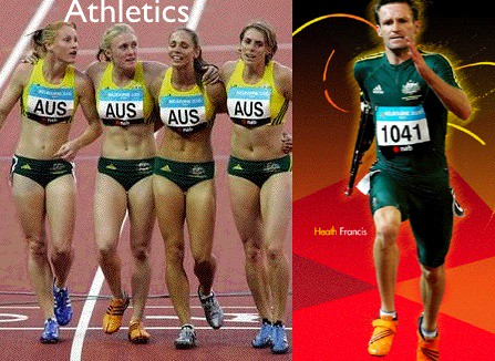 Athletics. Women in midriff-baring crop tops and tiny tight underpants, men in long suits with sleeves and shorts to almost knee