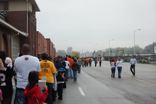 A small portion of the line that snaked through the Indiana State Fairgrounds