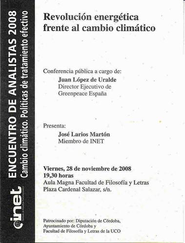 Conferencia Juan López Uralde. Director Ejecutivo Greenpeace