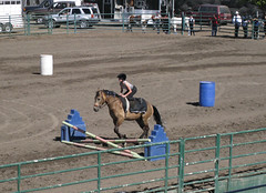 She went over several jumps balanced on her knees!