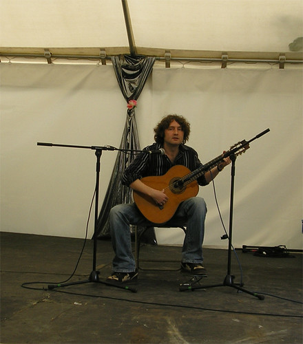 Simon Sheffield playing guitar at Lewisham People's Day