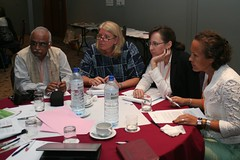 Groups discussing which questions to ask to Lead Speakers (photo credit Petr Kosina)