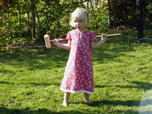 Playing croquet in the garden at Rikke and Martin's