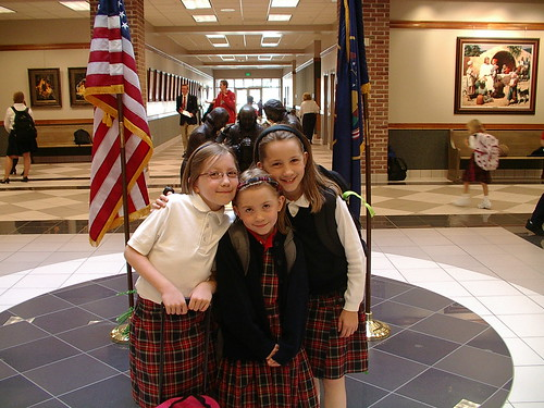 first day of school in school rotunda