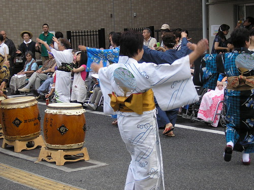 Bonodori dancers. And not one under 60! Maybe.