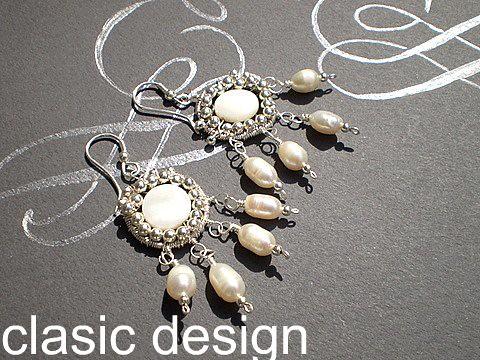 Cercei -mireasa-lucrati manual-perle -sidef by you.
