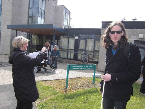 Image of student with visual impairment on flim set at NUI Maynooth