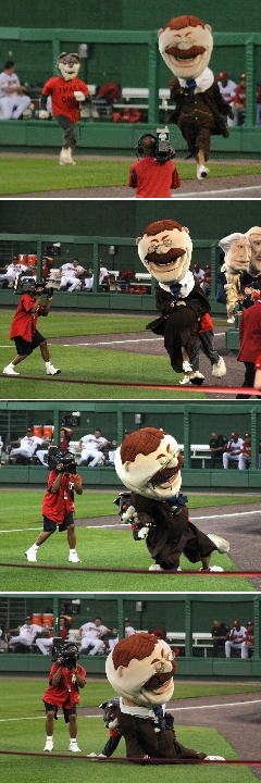 Photos of the presidents race at Nationals Park.