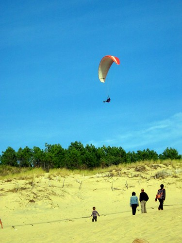 Someone paragliding on the dune.