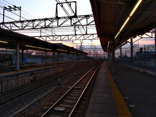 Sunset at Japanese station