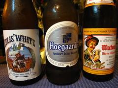 由左至右分別是Celis White、Hoegaarden Witbier、Watou\'s Wit Bier