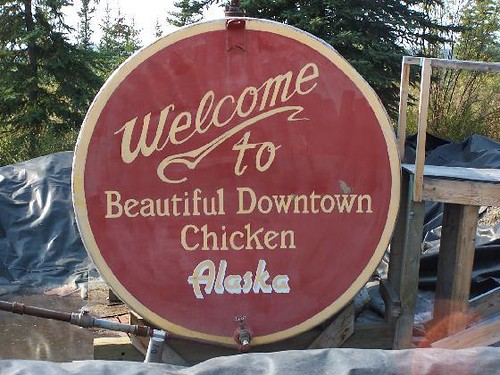 The Welcome to Chicken sign, painted on the town's water tank.