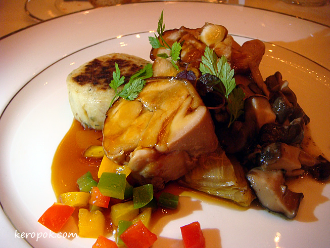 Chicken Teriyaki with Macaire Potatoes, Braised Endive, Assorted Mushroom Rogout