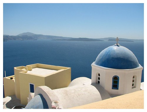 Blue dome of a Byzantine church in Santorini by you.