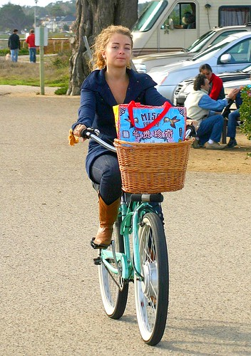 Teen girl on a bicycle Santa Cruz