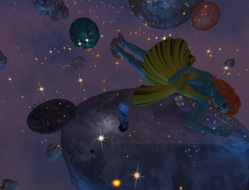 Floating in orbit