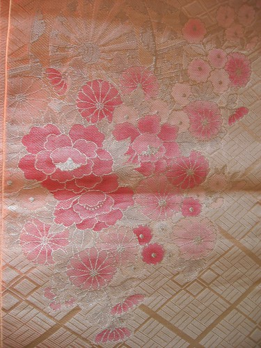 Silver and pink flower pattern obi kimono belt