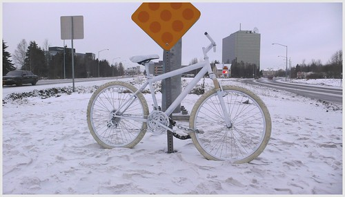 Ghost bike, midtown Anchorage.