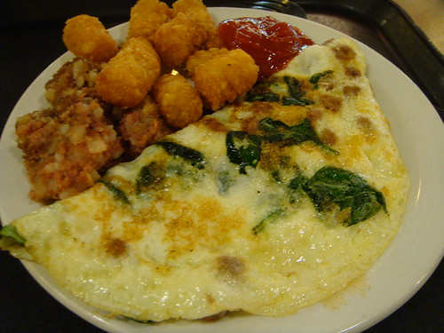 Russell Sage - Spinach and Sausage Omelet, Tater Tots, Corn Beef Hash