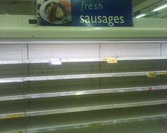Sausage shelves in tesco after recall 7/12/08