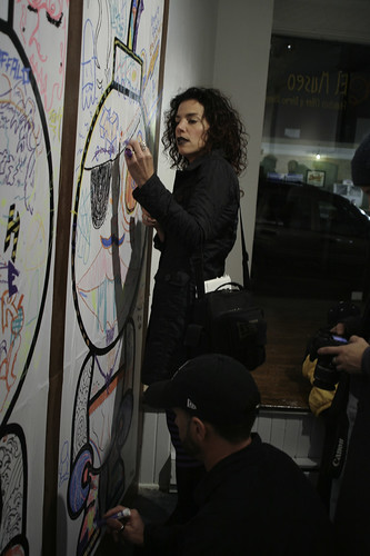 The blank B.U.D.s on the wall get customized live at the opening reception. Edition of 2.