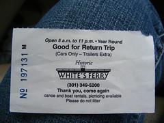Return Trip Ticket White's Ferry