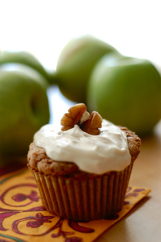 apple walnut cupcake with caramel cream cheese frosting