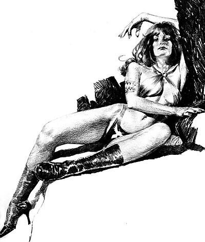 Esta era la categoria de los dibujos que González hacia para Vampirella, es fácil notar que usó modelo, que pensó bien la composición y además realizó un magnifico retrato.