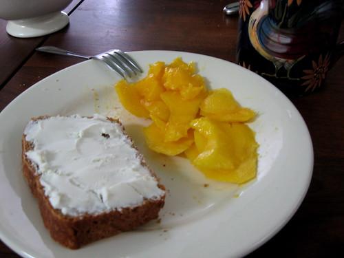 Bread and mango breakfast