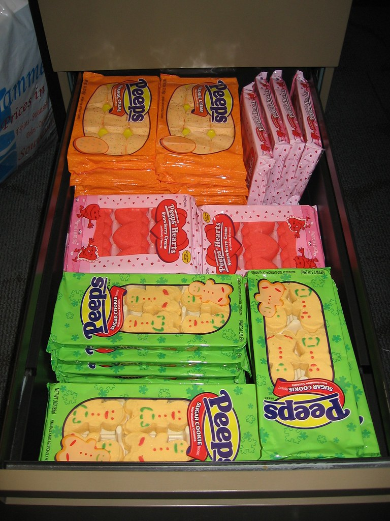 Photographic proof of my Peep addiction - an office desk drawer FULL of Peeps.