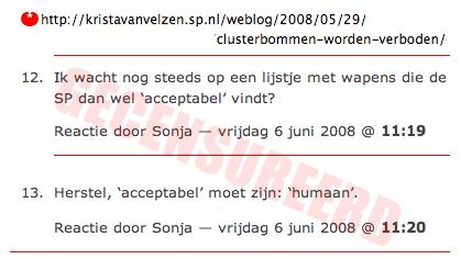 SP Krista van Velzen censuur