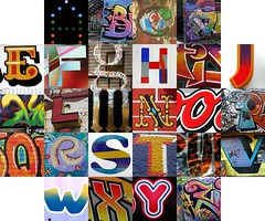 Multi-coloured letters