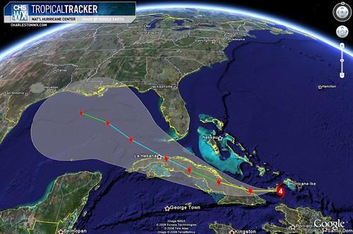 Hurricane Ike:  Projected Path, 11am 09/07