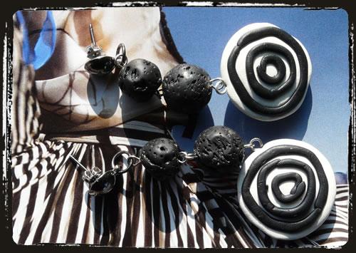 Orecchini bianco nero - Black and white earrings MEHLBNF