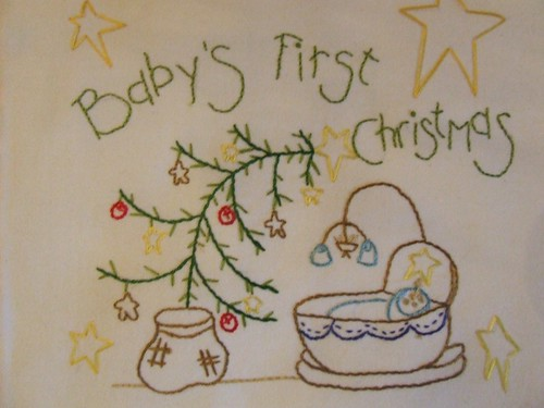 baby's christmas wall hanging CLOSEUP