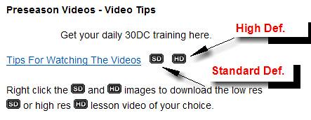 30DC Videos - SD and HD buttons