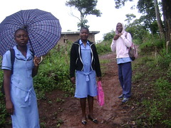Regine, Lidi and Sylvian on their way to school.