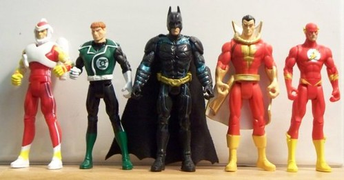 Adam Strange, Green Lantern Guy Gardner, Batman (The Dark Knight), Shazam! (Captain Marvel) and the Flash