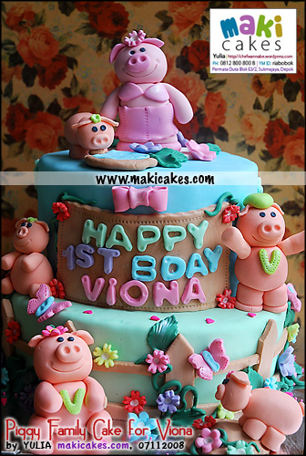 Piggy Family Cake for Viona__ - Maki Cakes