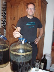 Heres Keith decanting the beer into the soda kegs.