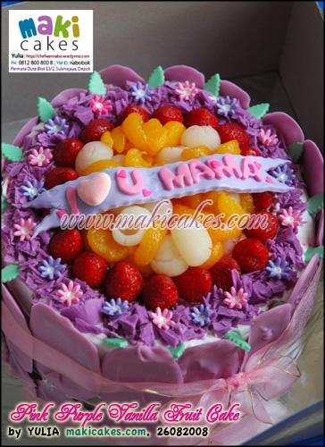 Pink Purple Vanilla Fruit Cake - Maki Cakes