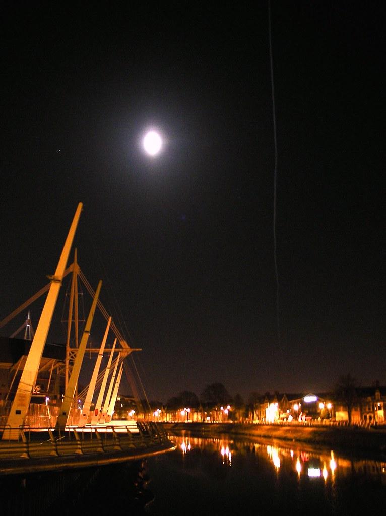 Millennium Stadium, moon and trail